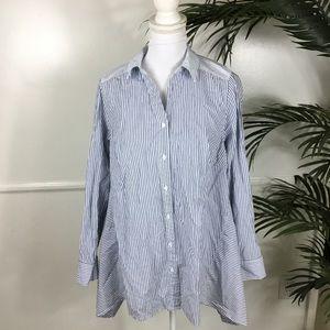Lane Bryant Blue Striped Button Long Sleeve 14/16